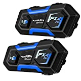 FODSPORTS FX4 Pro Motorcycle Bluetooth Intercom with Noise Cancellation,Hard Shell Motorcycle Bluetooth Headset with Great Sound,Helmet Intercom Up to 4 Riders Universal Wireless Interphone(2Pack)