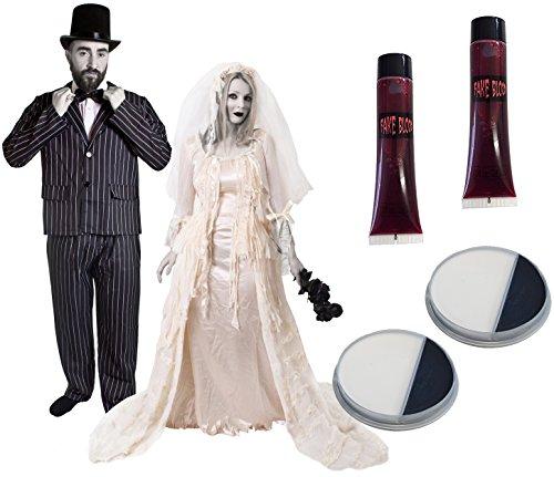 ILOVEFANCYDRESS - Costume in maschera per coppia da Halloween, travestimento da uomo con abito gessato, cappello e papillon, travestimento da donna con abito da sposa e velo abbinato, motivo: zombie