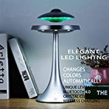 Anti-Gravity Levitation Saucer Magnetic Floating HQ Bluetooth Speaker Wireless Charging Seven Color Changeable Modern Night Light for Home Office Desk Decor, Gift Ideal (Silver)