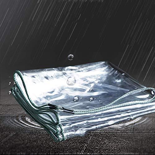 NMBC Impermeable Lona Transparente A Prueba de desgarros Lonas PVC Vidrio Película Suave con Ojales Prueba de Lluvia Lona De Protección Plegable-2.3x3.9m/7.5x12.8ft