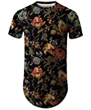 Mens Hipster Hip Hop Ripped Round Hemline Longline Curve Rose Floral T-Shirt Drop Tail Summer Tee 003 M