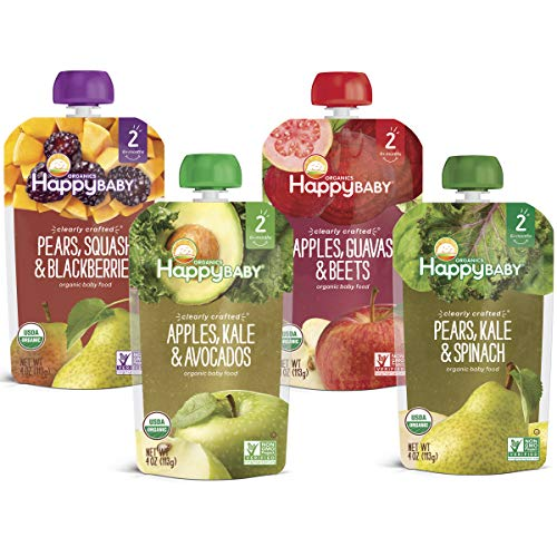 Happy Baby Organic Clearly Crafted Stage 2 Baby Food Variety Pack, Pear Squash &...