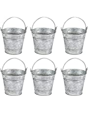 Mini Galvanized Metal Buckets with Handles, Party Favors (3.5 x 3.4 x 3 in, 6 Pack)