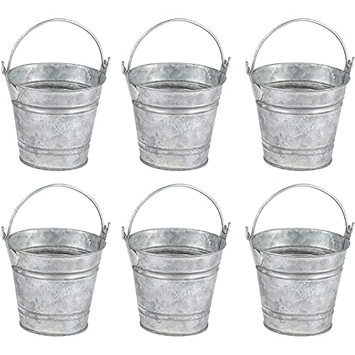 Juvale 6 Pack Small Metal Buckets, Galvanized Tin Pails with Handles for Party Favors, Rustic Farmhouse Decorations (3 inch)