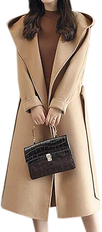 BYWX Women Thick Winter Hoodie Belted Slim Mid Length Overcoat Pea Coat