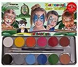 Eulenspiegel 212226- Karneval der Tiere Schminkpalette, vegane Farben und Pinsel, Kinderschminken, Karneval, Fasching, Made in Germany -