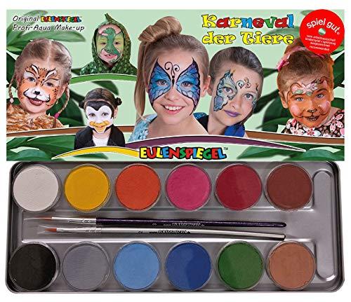 Eulenspiegel 212226- Karneval der Tiere Schminkpalette, vegane Farben und Pinsel, Kinderschminken, Karneval, Fasching, Made in Germany