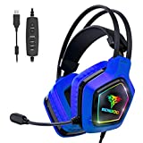 BENGOO Stereo GM7 Gaming Headset für PS4, PC, Xbox One Controller Surround Sound Over Ear Kopfhörer mit Geräuschunterdrückung Mikrofon, LED RGB Licht, On-Line Lautstärke blau
