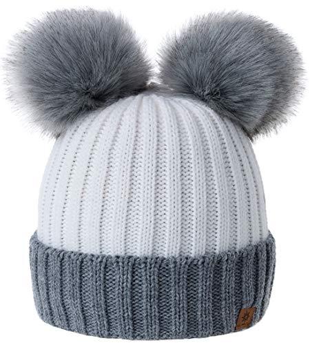 MFAZ Morefaz Ltd Mädchen Winter Beanie Mütze Kinder Groß Pom Pom Style Kids SKI Snowboard (Grey White)