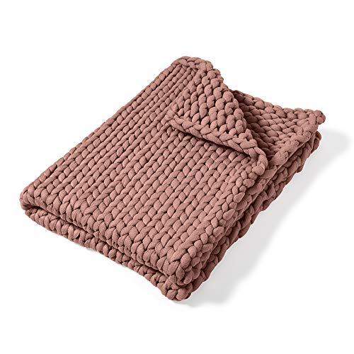 Throw Blanket - Chunky Knit Mauve by Donna Sharp - Contemporary Decorative Throw Blanket with Over-Sized Loop Pattern
