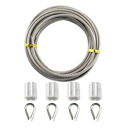 UOOOM 5 Metri Cavo in acciaio INOX, Diametro 3 mm (Compreso 0,5 mm il rivestimento in PVC), Kit con 4x M3 304 ditale in acciaio inossidabile e 4x Alluminio Manicotti