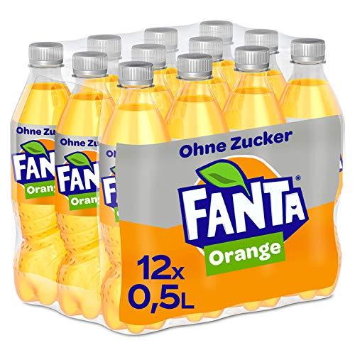 Fanta Zero Orange, Extrem orangiges und spritziges Erfrischungsgetränk ohne Zucker, Einweg Flasche (12 x 500 ml)