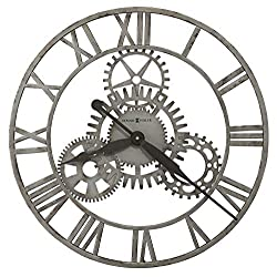 Howard Miller Sibley Oversized Wall Clock 625-687 – Wrought Iron Finished in Antique Silver, Decorative Fixed Center Gears, Modern Home Décor, Quartz Movement