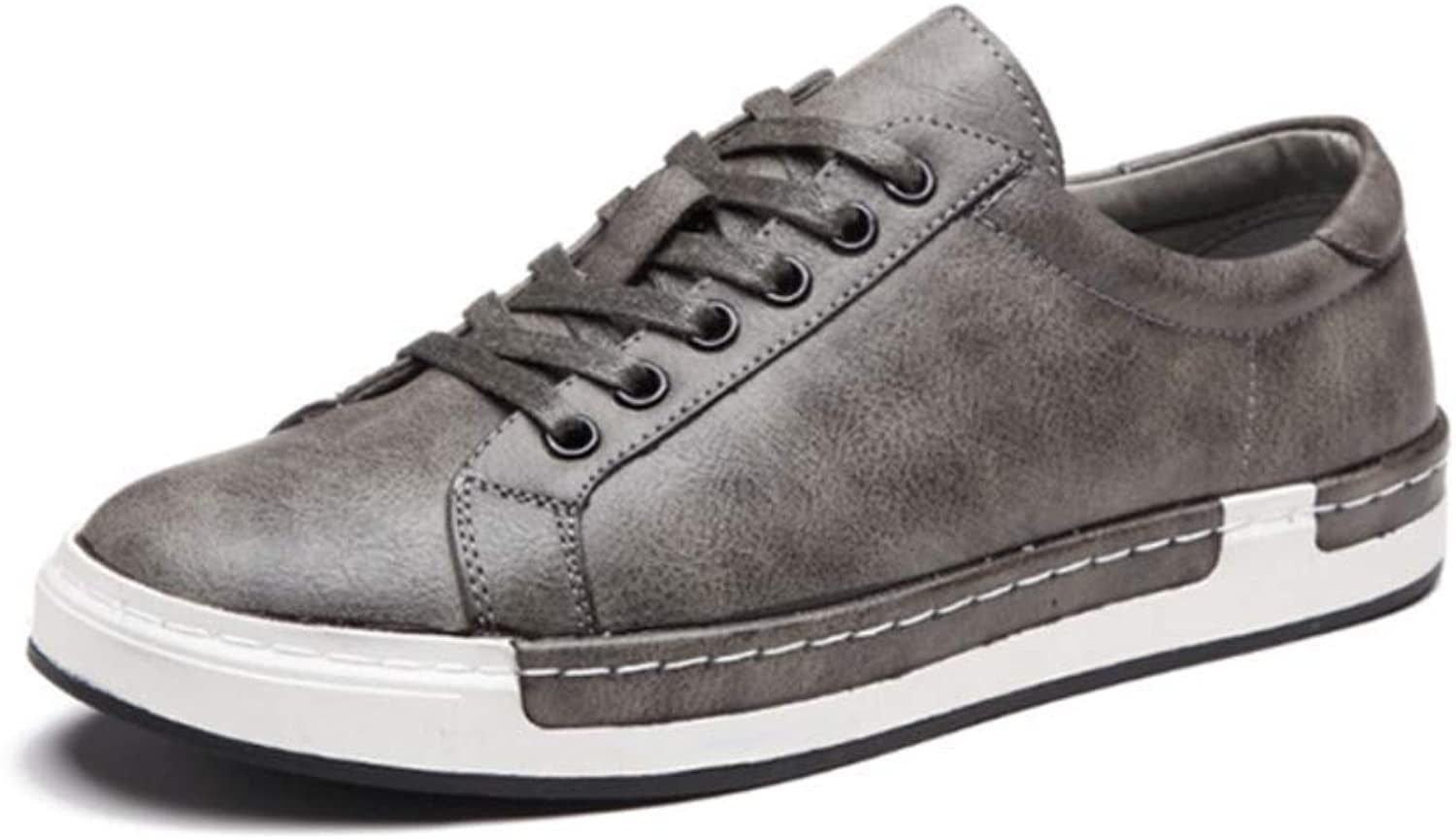 LYZGF Men Youth Seasons Flat Casual Fashion Round Head Lace Leather shoes