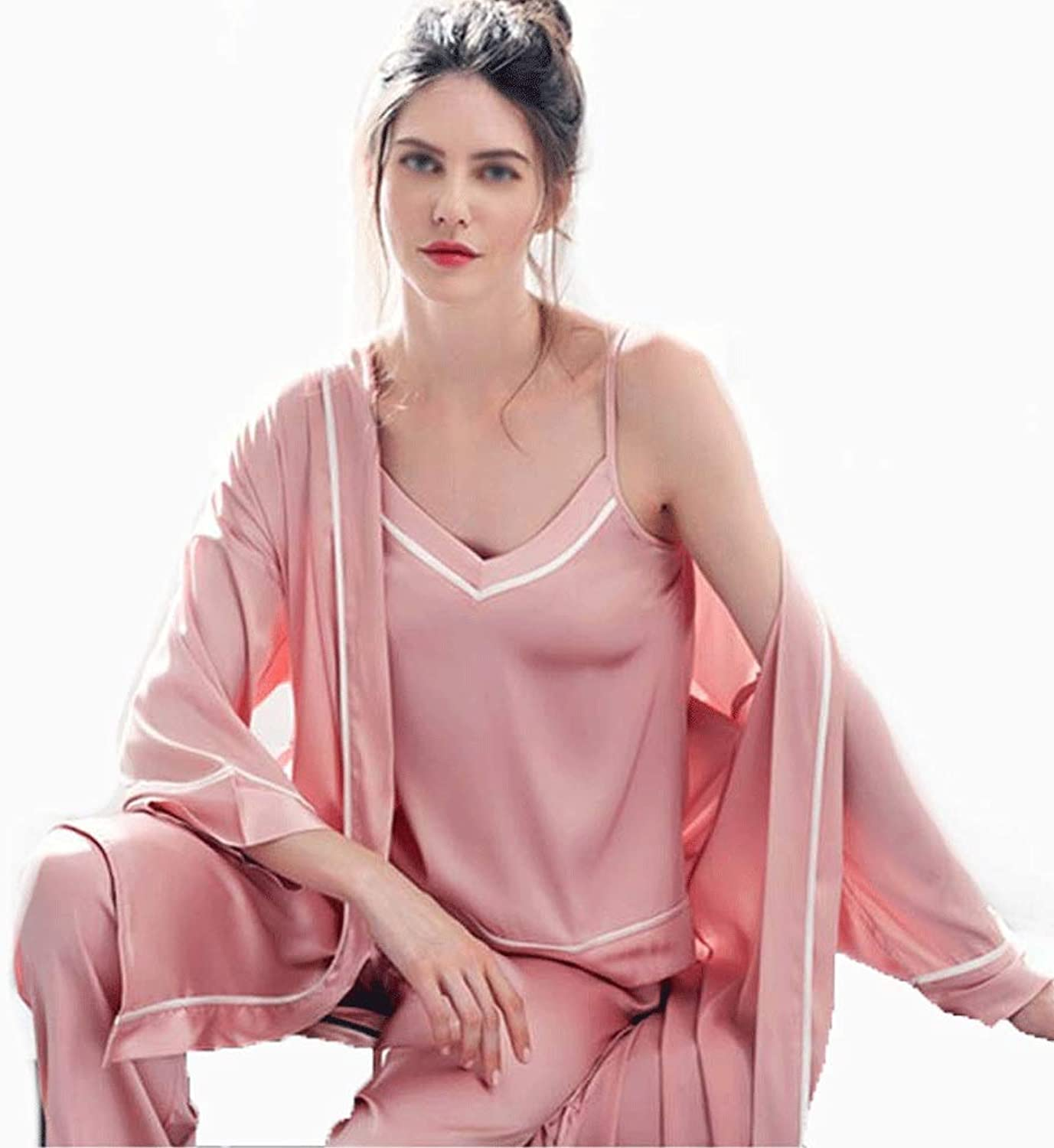 YONGYONG Pajamas Women's Spring and Autumn LongSleeved Ice Silk Pink Sexy Sling ThreePiece Loose Home Service YONGYONG (color   Pink, Size   XXL)