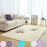 AMCER Salon alfombras de habitacion 150x250cm, Alfombra de Yoga Suave, contemporánea Rectangular, para niños Dormitorio Decoración para el hogar Alfombras de - Beige