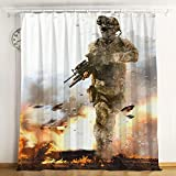 CMandCH Call of Duty Cortinas Opacas con Ojales 2 Panel de poliéster Impreso en 3D con Aislamiento térmico para Dormitorio Sala de Estar Cocina Oficina(117x183cm*2,C01)