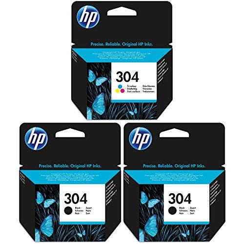 2 x zwarte en 1 drie-kleuren HP inktcartridges voor HP Deskjet 3720 printers