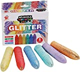 TBC The Best Crafts 6 Farben Kinderkreide wasslöslich Kreide Glitzer Straßenkreide für Kinder Mädchen Junge