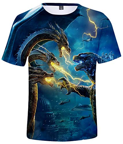 PANOZON Camiseta Unisex Impresión de Godzilla para Fanes de Película Godzilla Monstruos Mangas Cortas