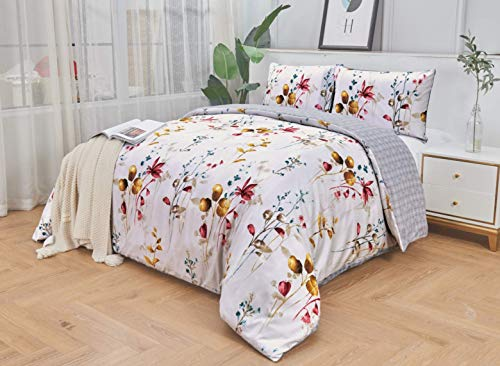 Ausumm Luxury Floral Duvet Cover with Pillowcases Soft Microfiber Reversible Quilt Bedding Set Tulips on Light Grey, Super King