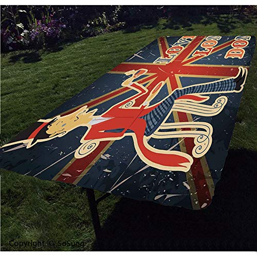 British Polyester Fitted Tablecloth,I Love London Quote with English Man on UK Flag Backdrop National Design Rectangular Elastic Edge Fitted Table Cover,Fits Rectangular Tables 48x24' Gold Dark Blue R