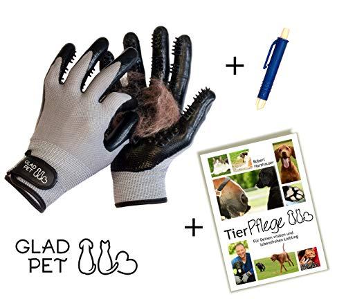 GLADPET Fellpflege – Set/Fellpflegehandschuh Paar, Zeckenzange, Tierpflege - E-Book/Praktischer Haustier Pflegehandschuh für Hunde Katzen Pferde