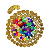 Toyvian 100 unids Piratas Monedas de Oro Pirata Joyas Gemas pl/ástico Juguete de Juego de Monedas para ni/ños