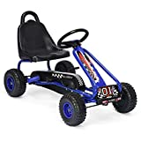 GYMAX Kids Pedal Go Kart with Adjustable Seat, Braking System, Non-slip Wheels, Ride