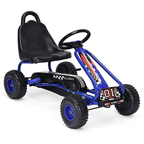 HONEY JOY Go Kart for Kids, 4 Wheel Pedal Powered Go Cart with Steering Wheels & Adjustable Seat, Safety Hand Brake, Non-Slip Tires, Outdoor Off-Road Racer Ride On Pedal Car for Boy Girl (Blue)