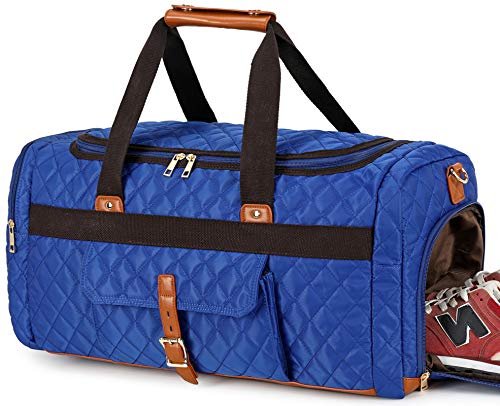 BLUBOON Weekender Overnight Duffel Bag with Shoes Compartment for Women Men Canvas Weekend Travel Tote Carry On Bag (Navy01)