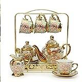 MOMIN-HM Inicio del Juego de té de Porcelana 16 Pieza Porta-Flor Europea del Café Retro Juego de té ...
