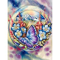 5D DIY Full Drill Square Diamond Painting Flower Butterfly Cross Stitch Kit Cross Stitch gift Home Decor Gift
