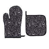 Hemoton 2 Stück Handschuhe und Topflappen Set aus weicher Baumwolle warme Pad Topf Hitzebeständig Küche Mikrowellenhandschuhe zum Kochen Grillen
