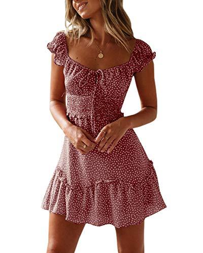Ybenlover Damen Blumen Sommerkleid High Waist Volant Kleid Vintage Minikleid Strandkleid, Ziegelrot, L