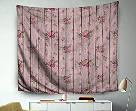 Asdecmoly Beach Art, Tapestry Wall Hanging Living Room Bedroom 60 Lx50 W Inches Digital Paper Scrapbook Light Pink Wood Flowers Ure Background Art Printing Inhouse