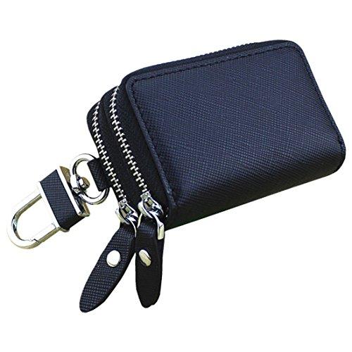 Esdrem-Unisex-Echtleder-Schlüssel-Hülle/Halter - mit Doppelreißverschluss - Auto-Schlüsselanhänger-Schlüsseletui Schwarz