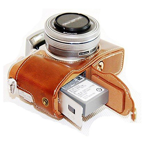 First2savvv marrón Funda Cámara cuero de la PU cámara digital bolsa caso cubierta para Olympus PEN E-PL8 EPL8 Digital SLR XJD-EPL8-D09