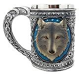 Atlantic Collectibles - Taza grande de lobo azul celta con borde de acero inoxidable y figura de resina de 18 onzas