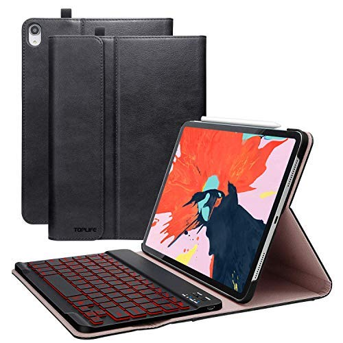 iPad case with Keyboard case for iPad 10.2 2019 case inch 7th generation pen holder keyboard case ipad tablet Pro 10.2 2017 ipad Air 3 cases pencil holder Bluethooth iPad case accessories (BLACK)