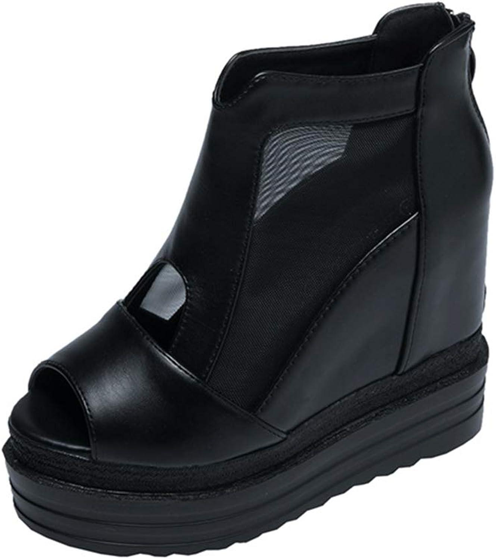 YAN damen es Platform schuhe Summer New PU Fashion Peep Toe Sandals Wedges Ladies Stiefel Super High Heels Party Evening,schwarz,39