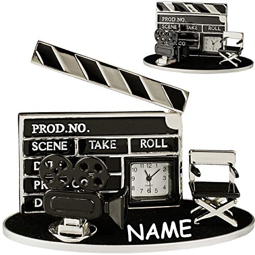 alles-meine.de GmbH kleine - Tischuhr / Miniatur - Uhr - Filmklappe + Filmkamera - Kino Film - inkl. Name - aus Metall - 10 cm - batteriebetrieben - Analog - Batterie - schwarz -..