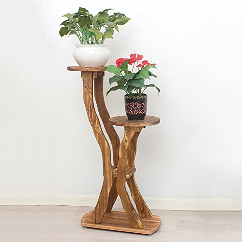 YXX- Échelle en bois Plant Rack Flower Stand Noir 2 Tiers Extérieur Intérieur 2 Pots Titulaire Balcony Plancher Multi-layer Stockage en bois Plateau Rouge Brun (Couleur : Style-4)