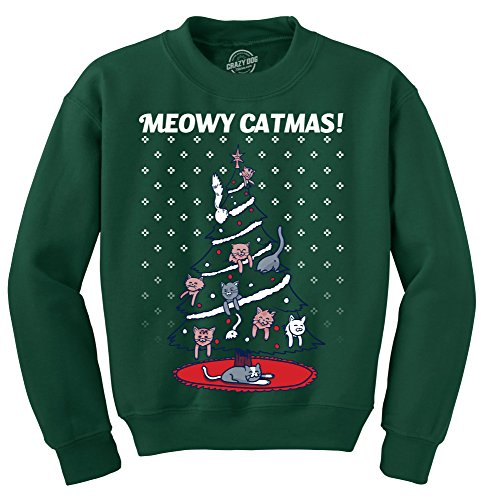 Crazy Dog Tshirts - Meowy Catmas Funny Christmas Cat Shirt Novelty Holiday Sweatshirt Graphic Cool (Forest Green) - S - Homme