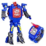 YuWei Smart Robot Toys Watch Kids 2 in 1 Electronic Transformers Giocattolo Watch Deformed Robot Toys Regalo per Bambini 5-12 Anni Ragazzi e Ragazze(Blu)