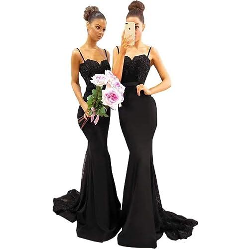 0b0407467b Chady Elegant Royal Blue Mermaid Bridesmaid Dresses 2019 Spaghetti Straps Sweep  Train Satin Lace Beads Prom