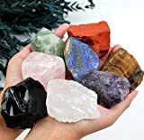 "vuUUuv Large Natural Crystal Chakra Stones for Tumbled, Meditation & Reiki Crystal Healing,2.7-3.0lbs (1.8""-3.1""(10 pcs))"