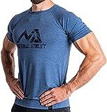 Natural Athlet T-shirt de fitness pour homme - Long t-shirt de gym à séchage rapide - Coupe ajustée - Pour le sport et le fitness XL bleu