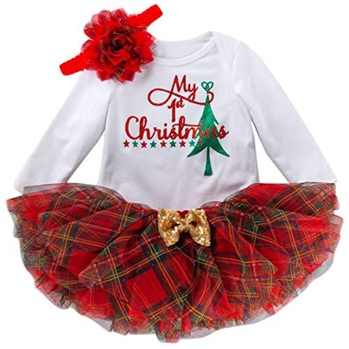 Conjunto Navidad Bebe Niña Vestido Neonatal Partido 3PCS Mi Primera Navidad Traje de Santa del Manga Larga Mono + Tutú Falda + Diadema