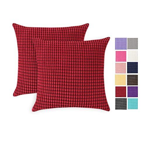 JOTOM Federa in velluto a coste per cuscino, morbida e decorativa, per divano, letto, casa, ufficio, 45 x 45 cm, vinaccia, 2 Stücke